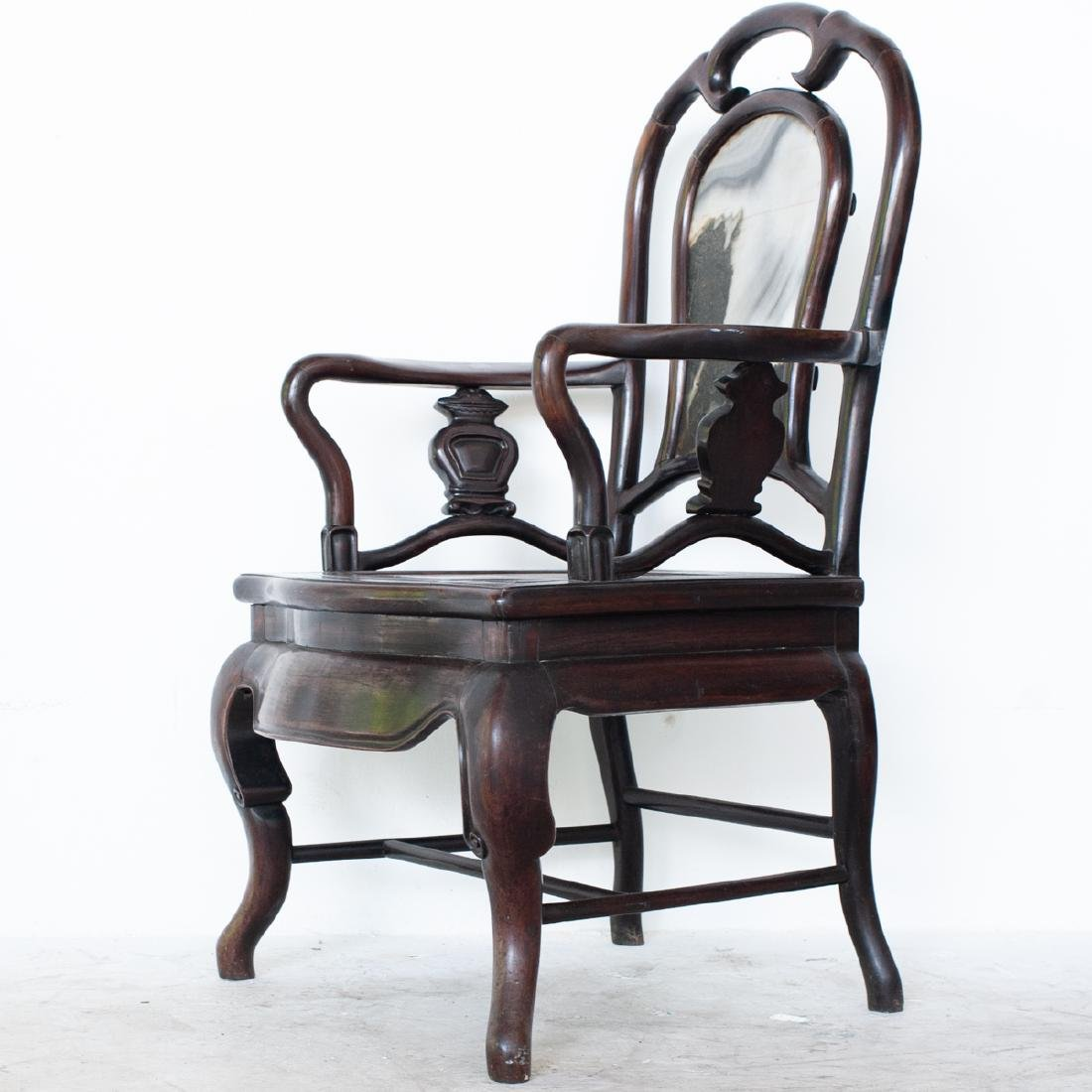 Carved Chinese Wooden Arm Chair - 2