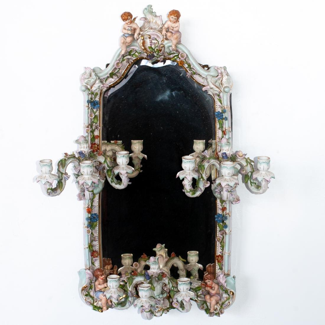 German Porcelain Mirror Sconce