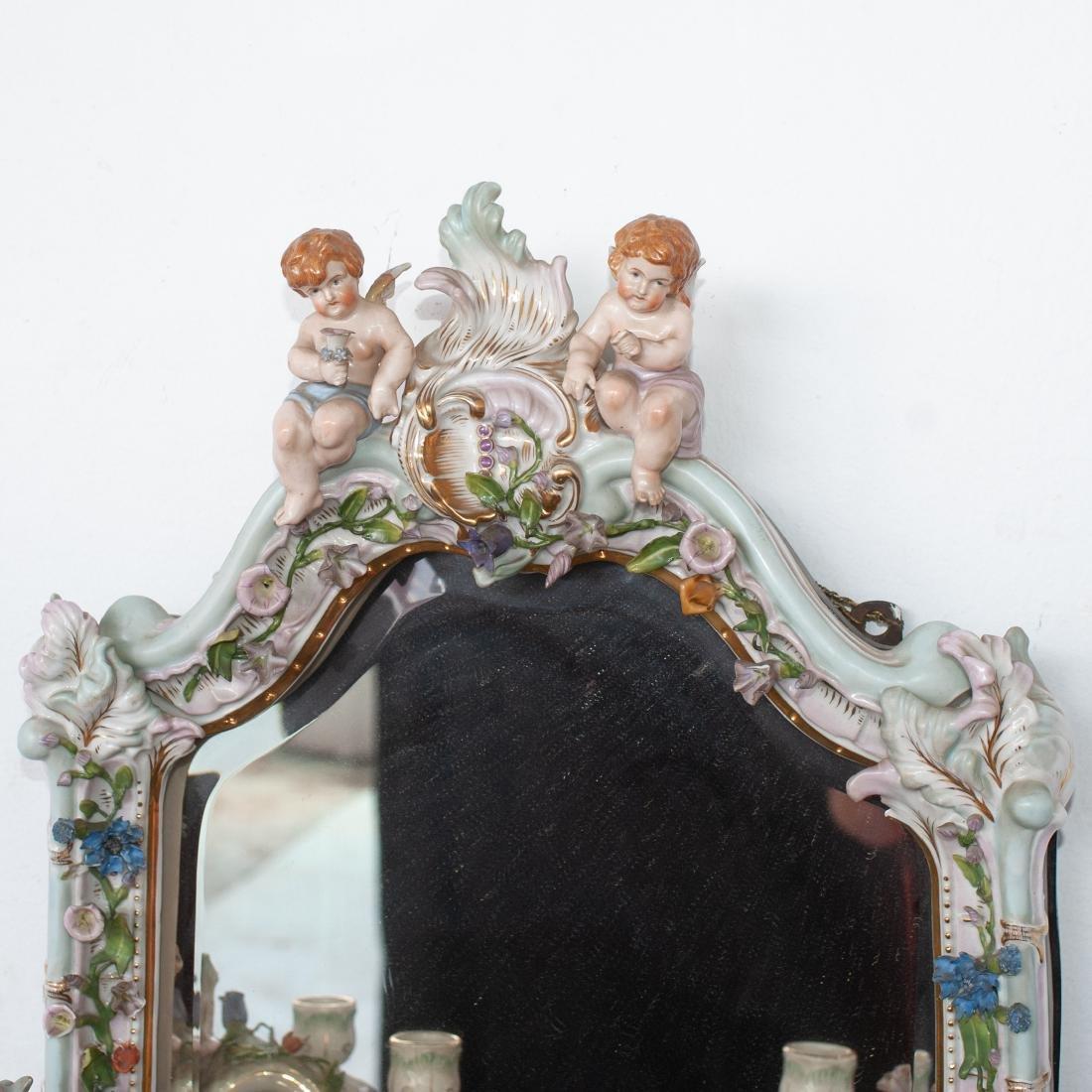 German Porcelain Mirror Sconce - 2