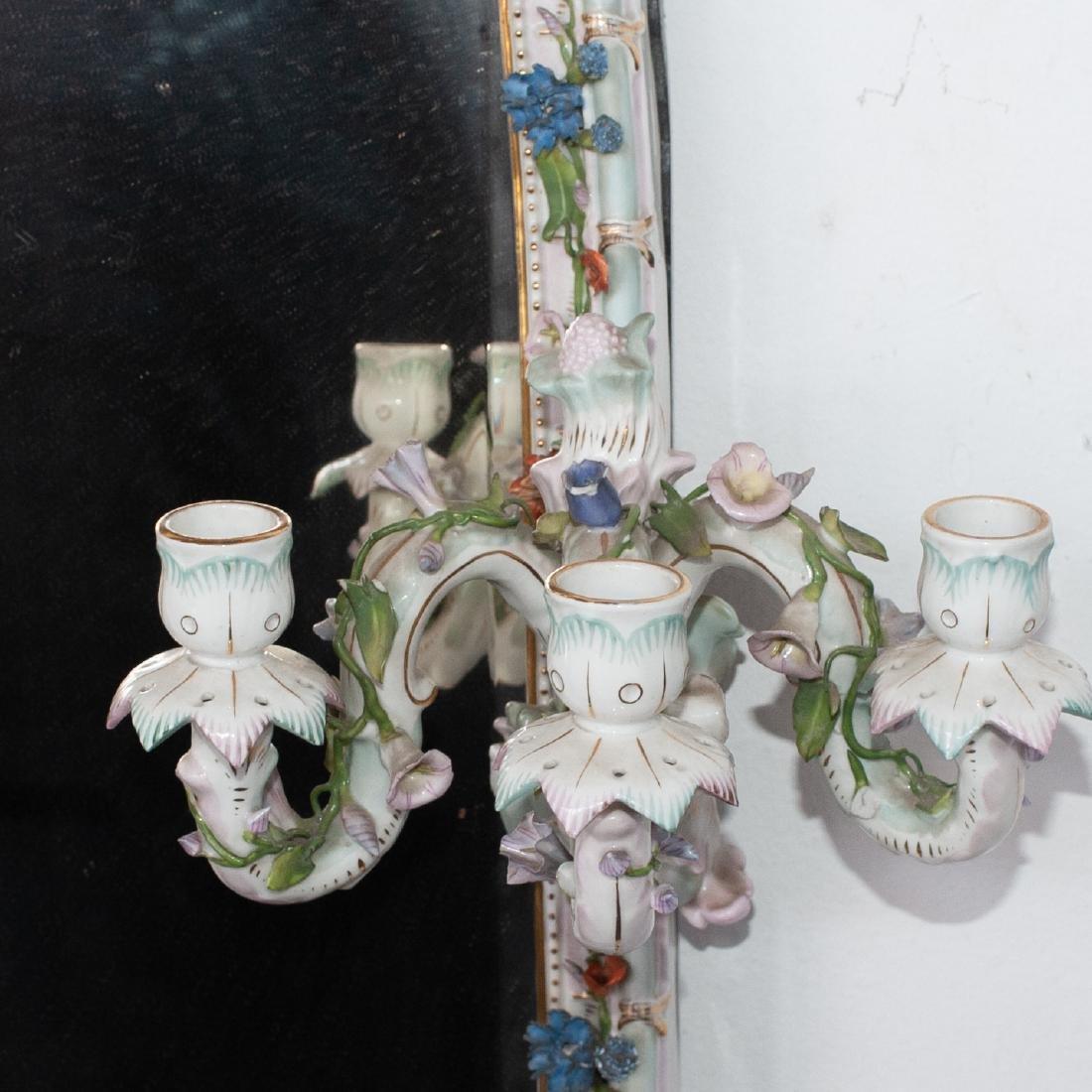 German Porcelain Mirror Sconce - 3