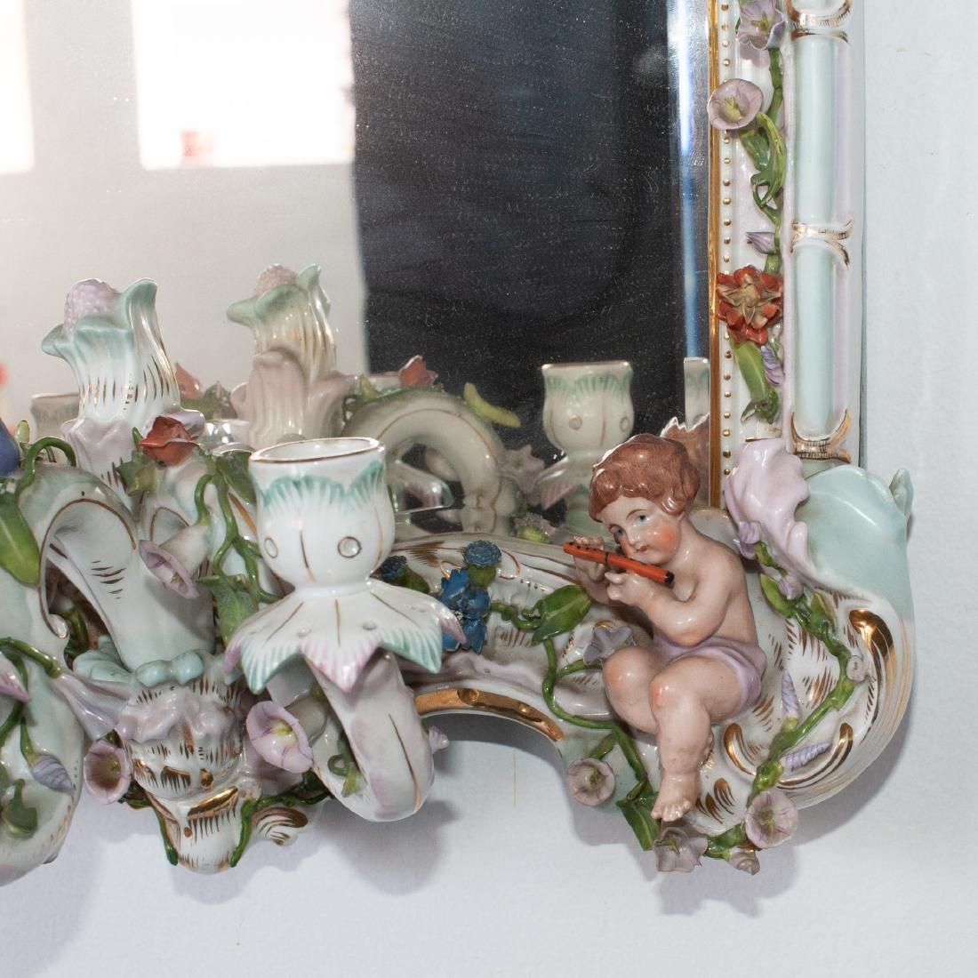 German Porcelain Mirror Sconce - 4