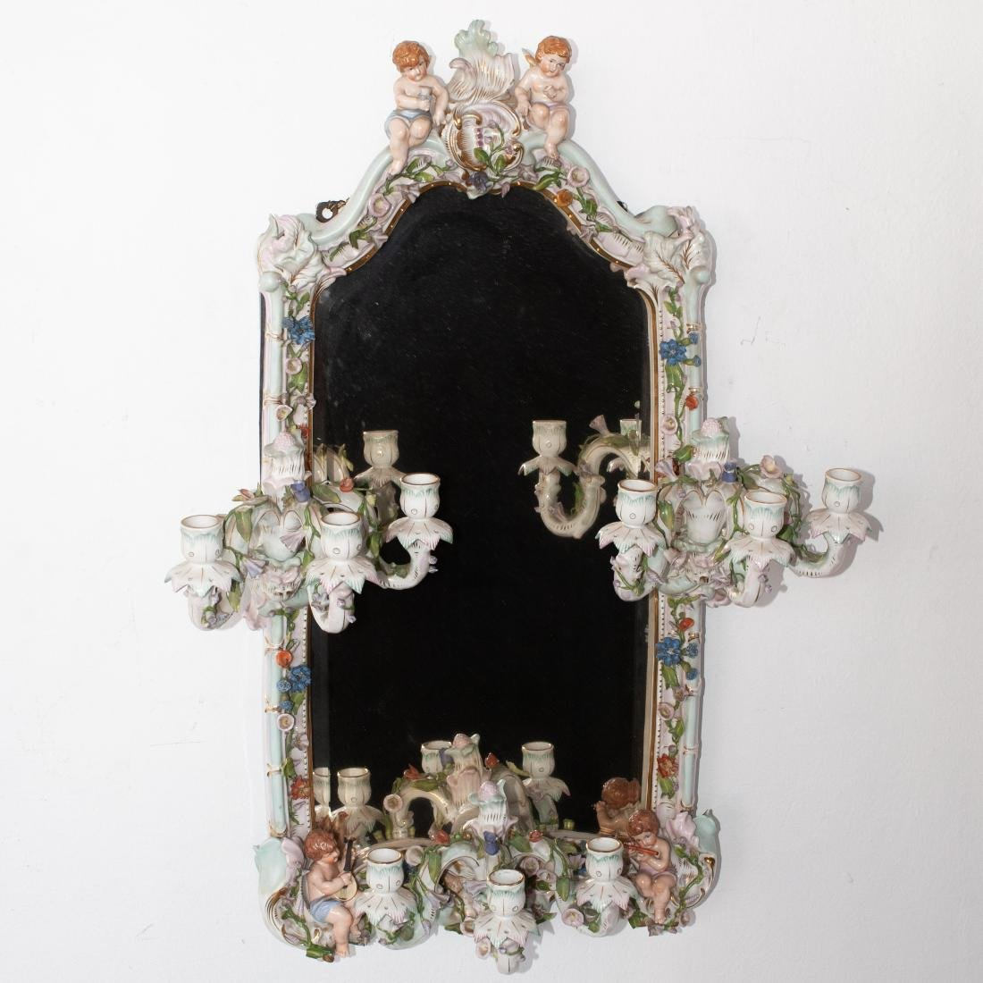 German Porcelain Mirror Sconce - 5