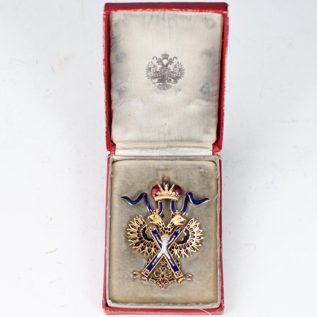 Rare Imperial Russian Gold Enameled Sash Badge - 2