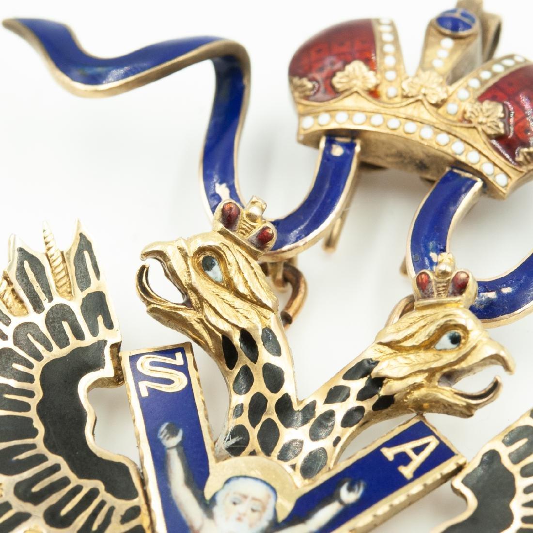 Rare Imperial Russian Gold Enameled Sash Badge - 4