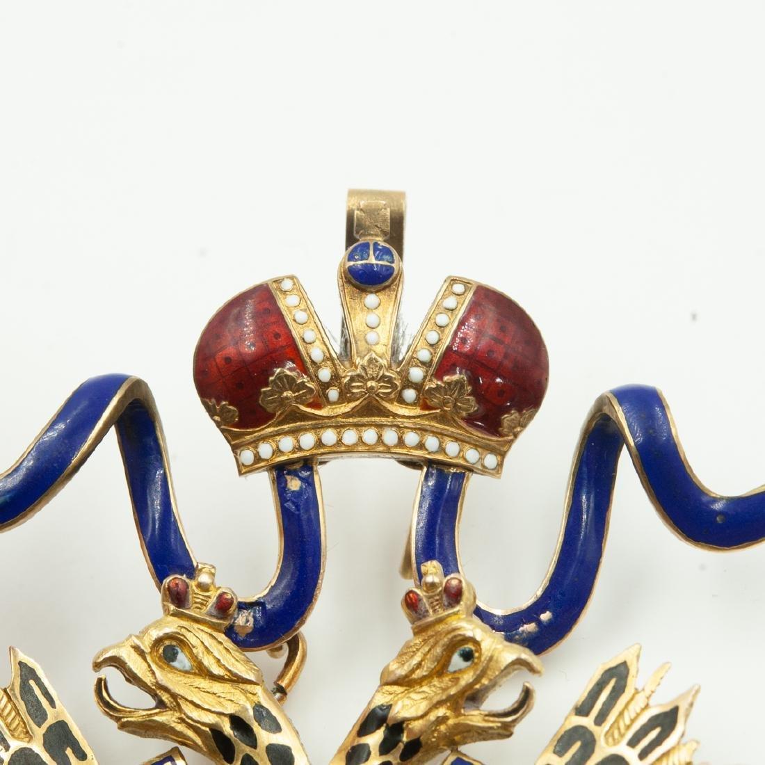 Rare Imperial Russian Gold Enameled Sash Badge - 5