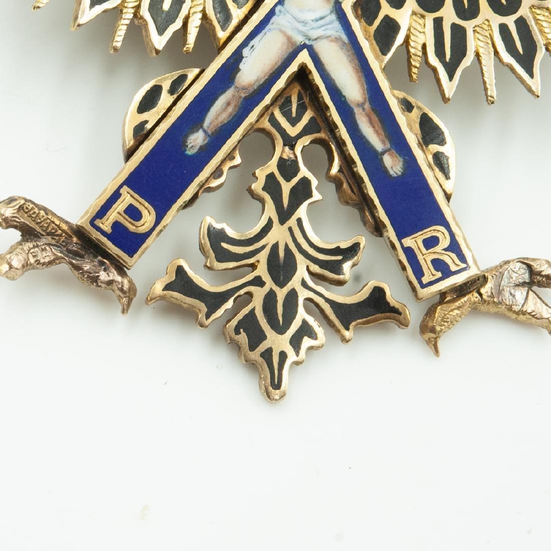 Rare Imperial Russian Gold Enameled Sash Badge - 6