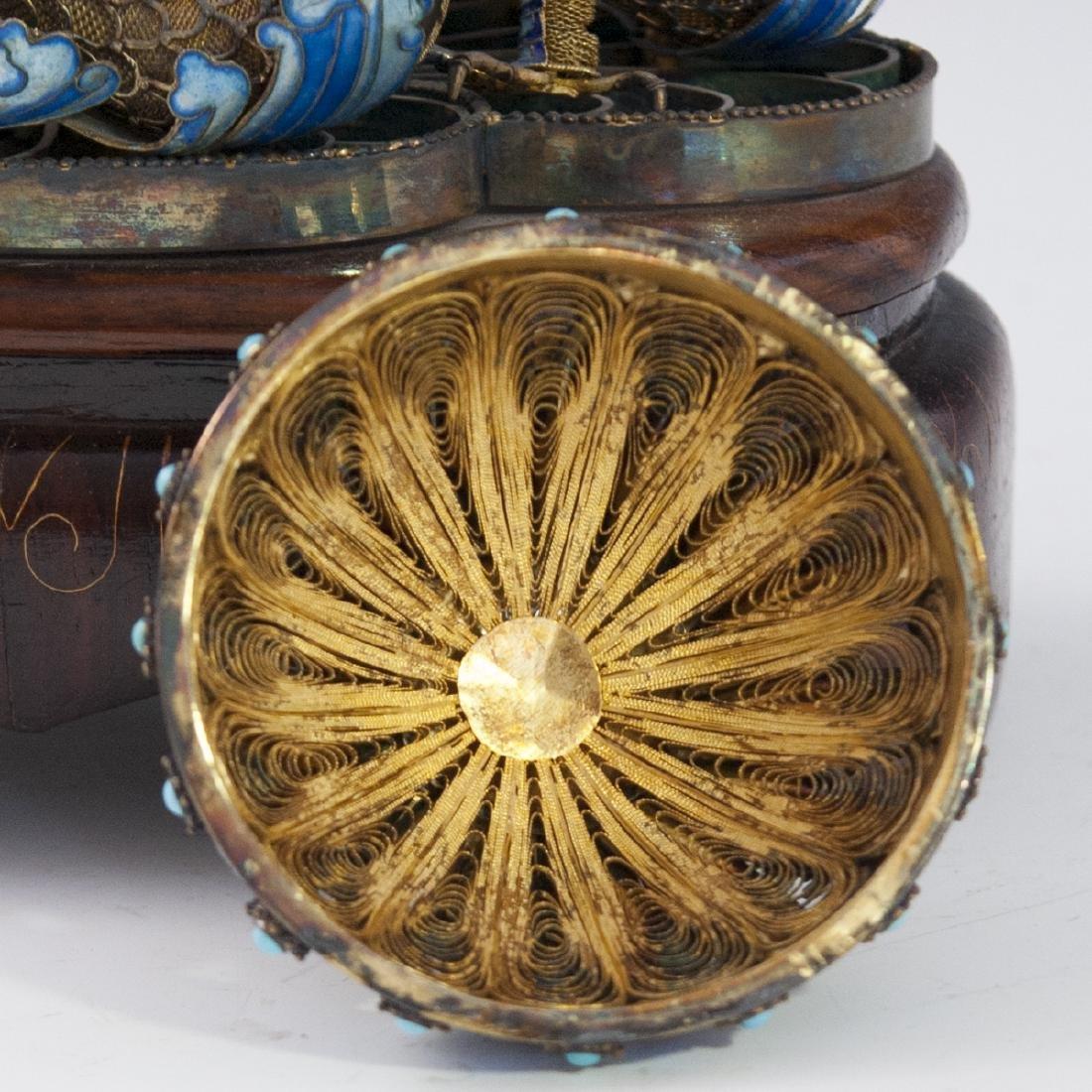 Chinese Vermeil Silver Enamel Cloisonne Caddy - 3