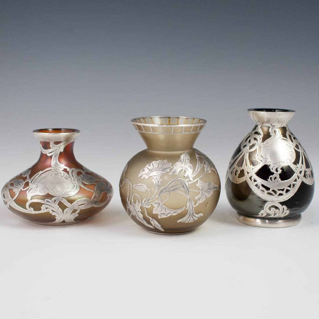 Three (3) Sterling Overlay Favrile Glass Vases