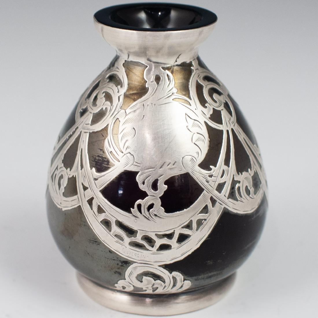 Three (3) Sterling Overlay Favrile Glass Vases - 2