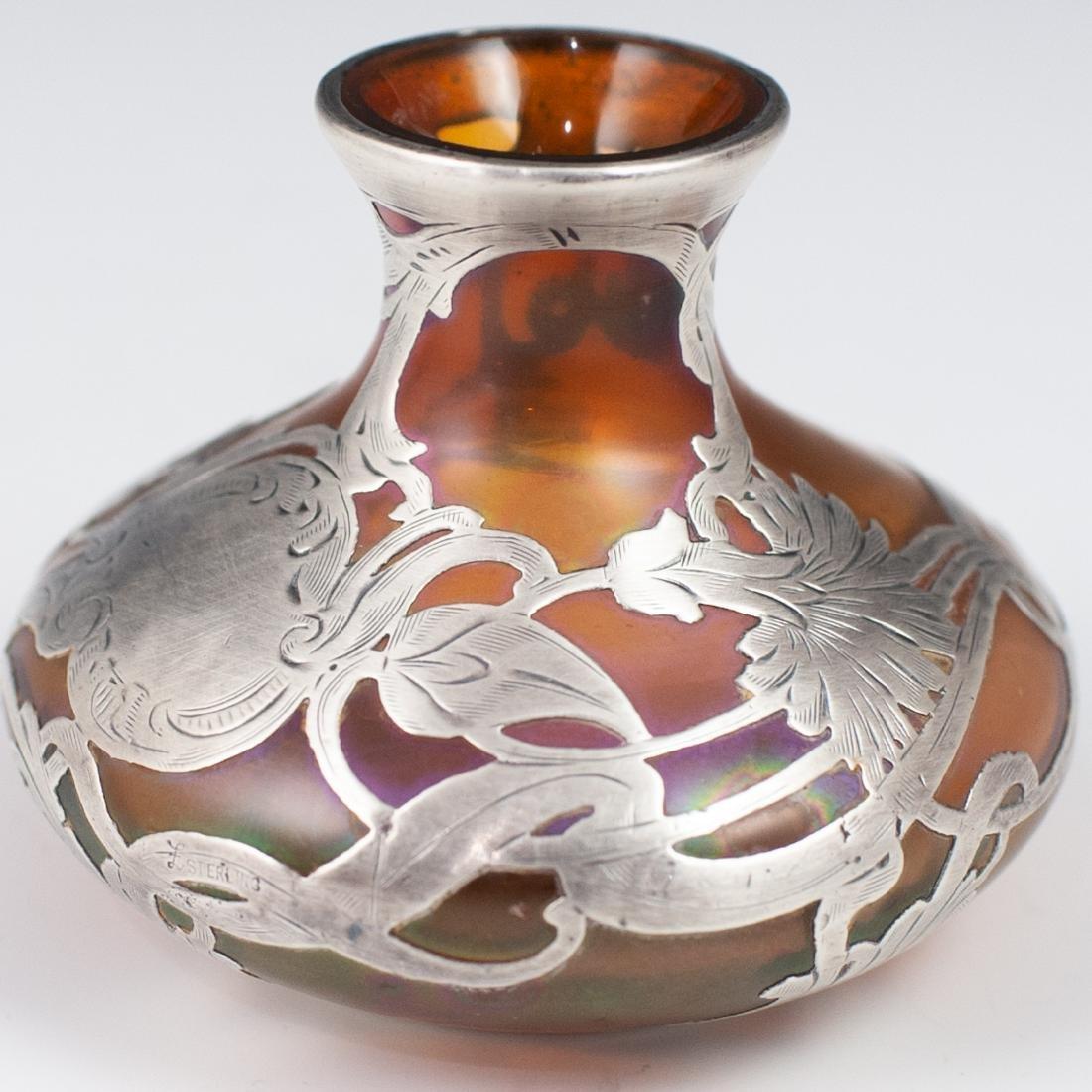 Three (3) Sterling Overlay Favrile Glass Vases - 3