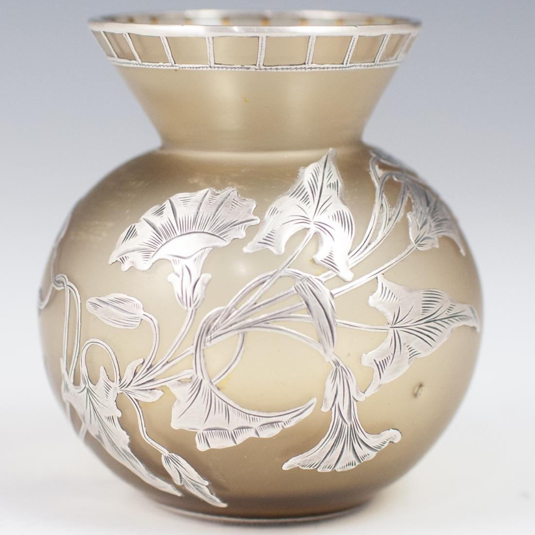 Three (3) Sterling Overlay Favrile Glass Vases - 4