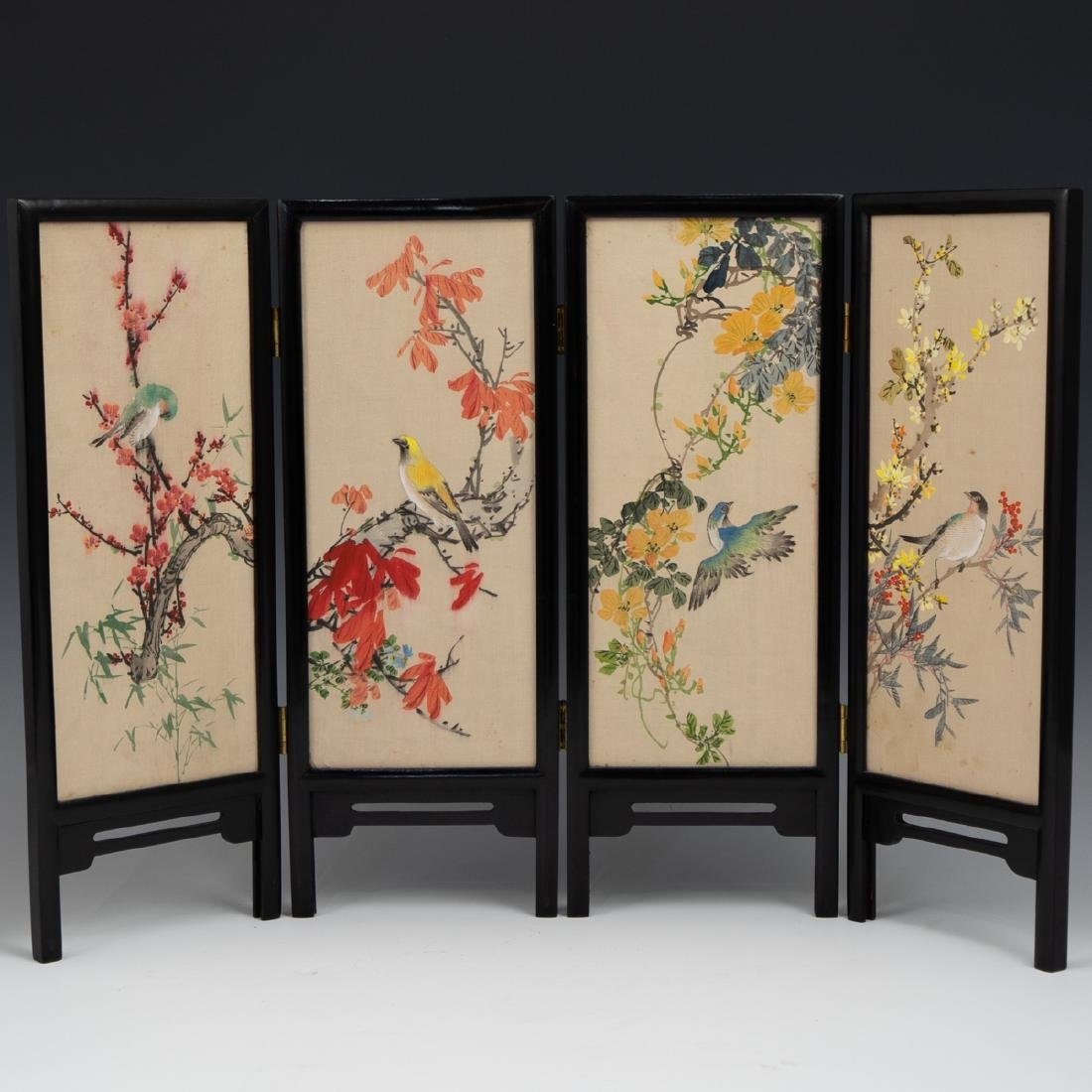 Chinese Wooden Panel & Silk Screen