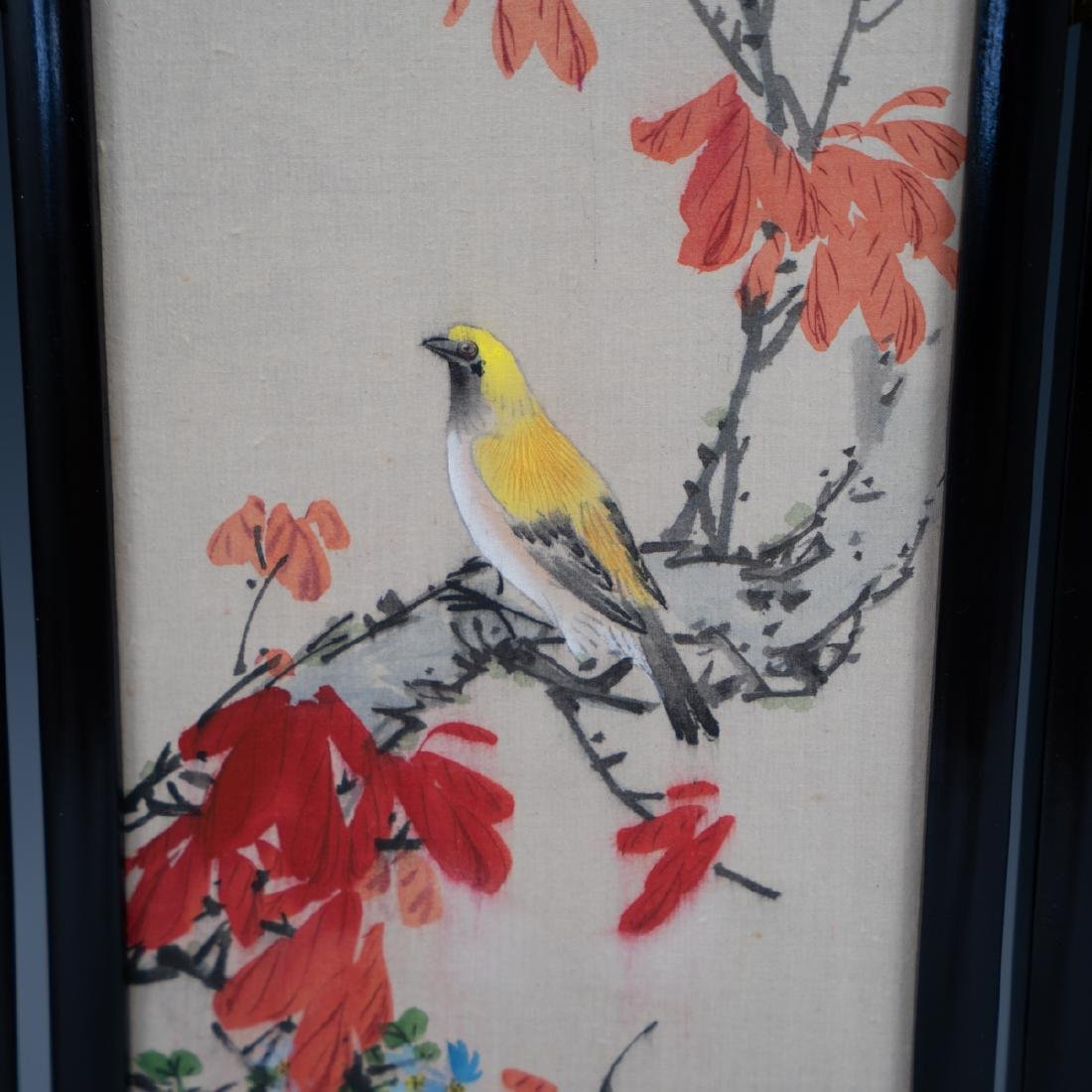 Chinese Wooden Panel & Silk Screen - 2