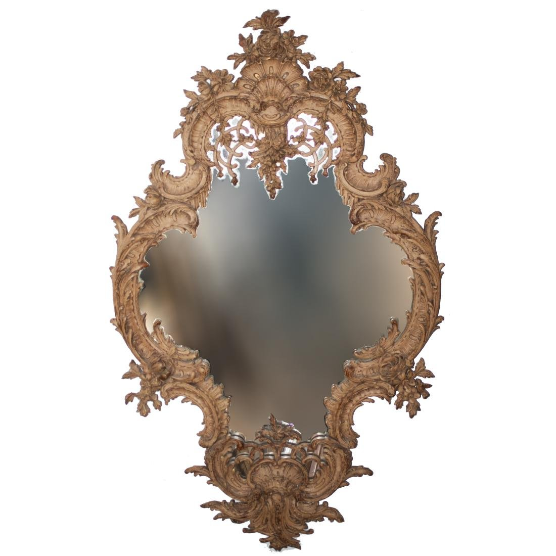 French Ornate Carved Wooden Mirror