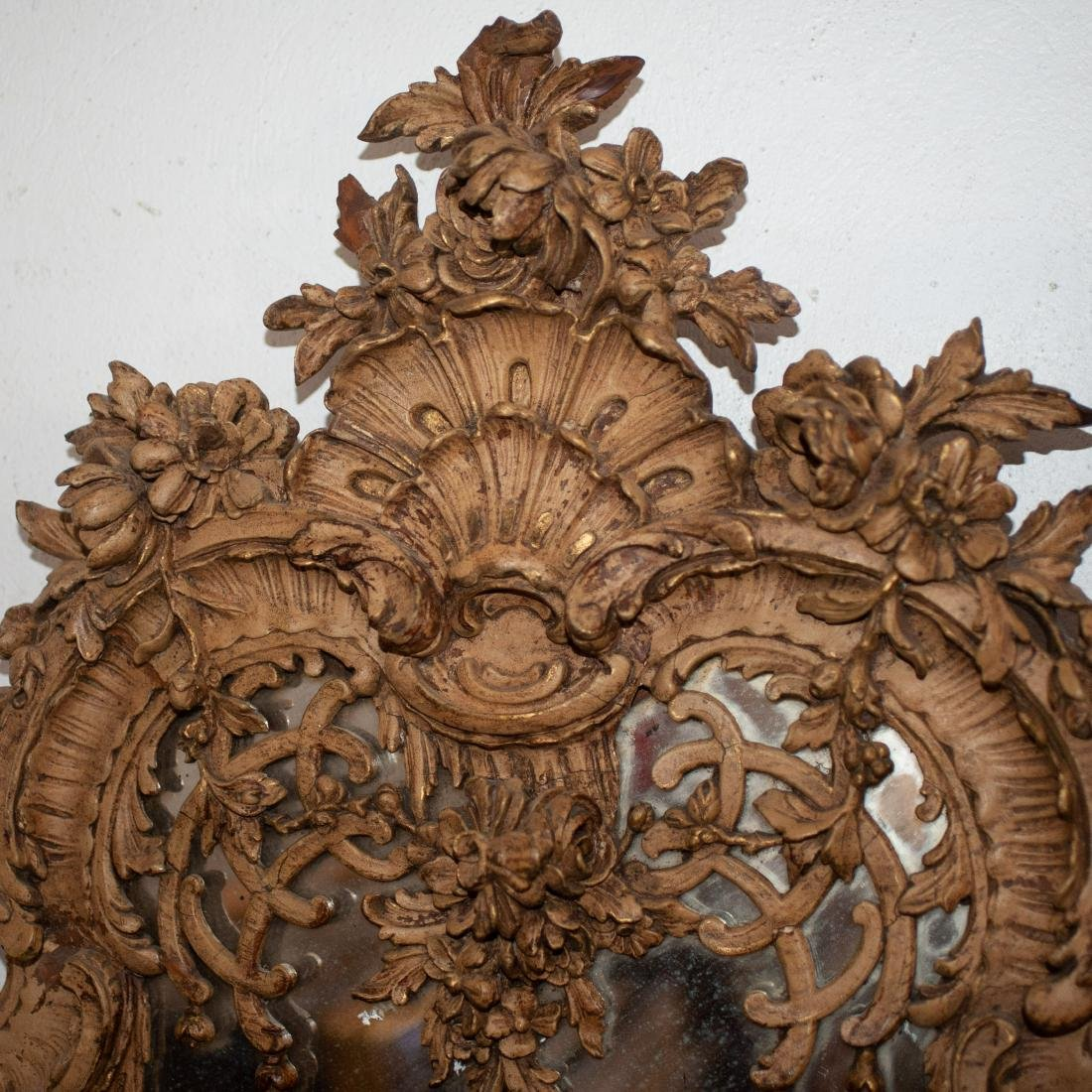 French Ornate Carved Wooden Mirror - 2