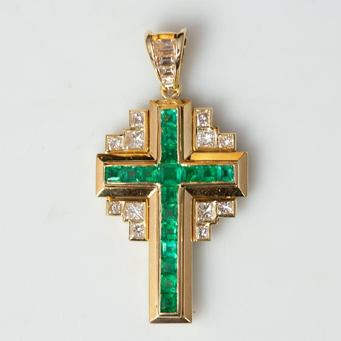 18kt Gold Emerald & Diamond Cross Pendant