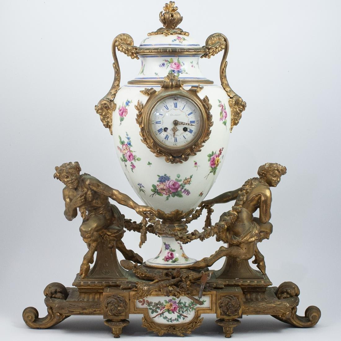 19th Cent. Sevres Bronze Gilt Clock