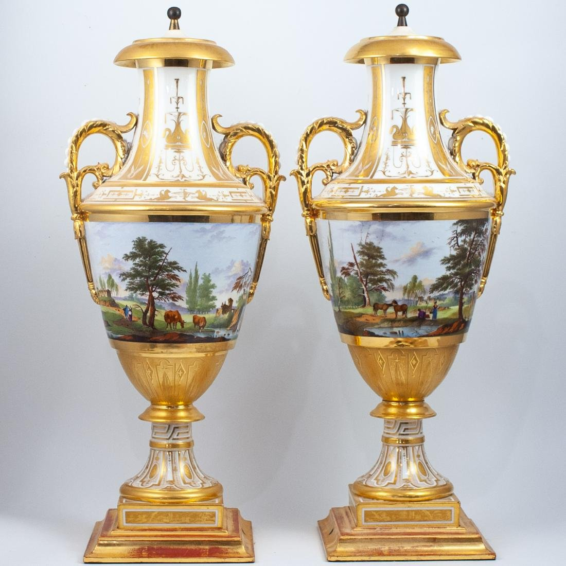 Pair Of 19th Cent. Sevres Porcelain Urns
