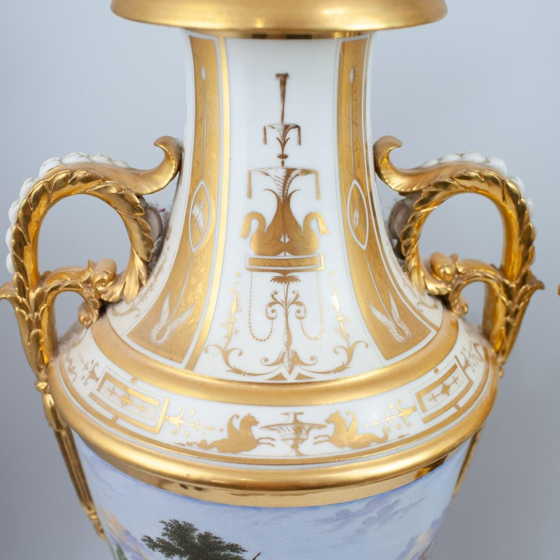 Pair Of 19th Cent. Sevres Porcelain Urns - 2