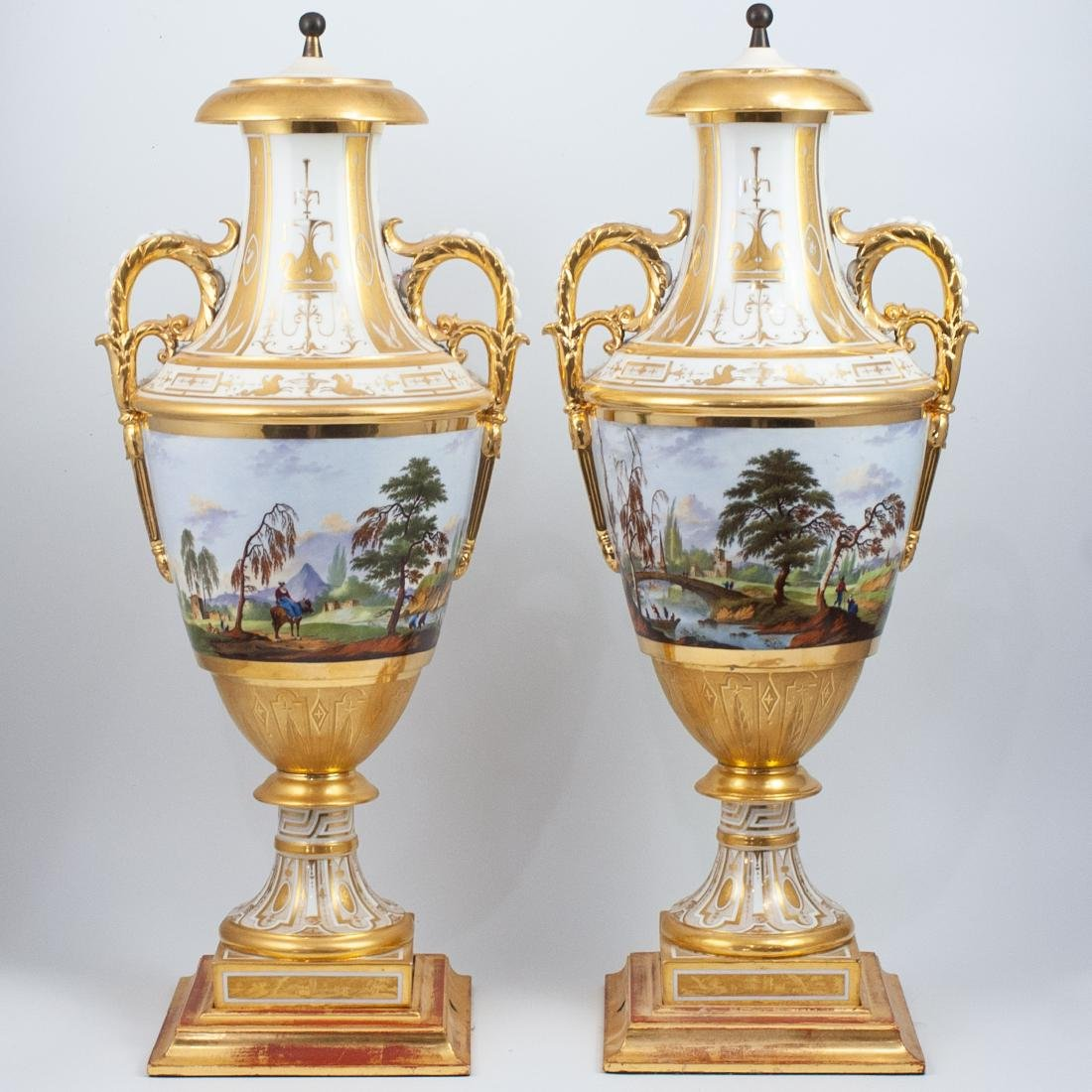 Pair Of 19th Cent. Sevres Porcelain Urns - 8
