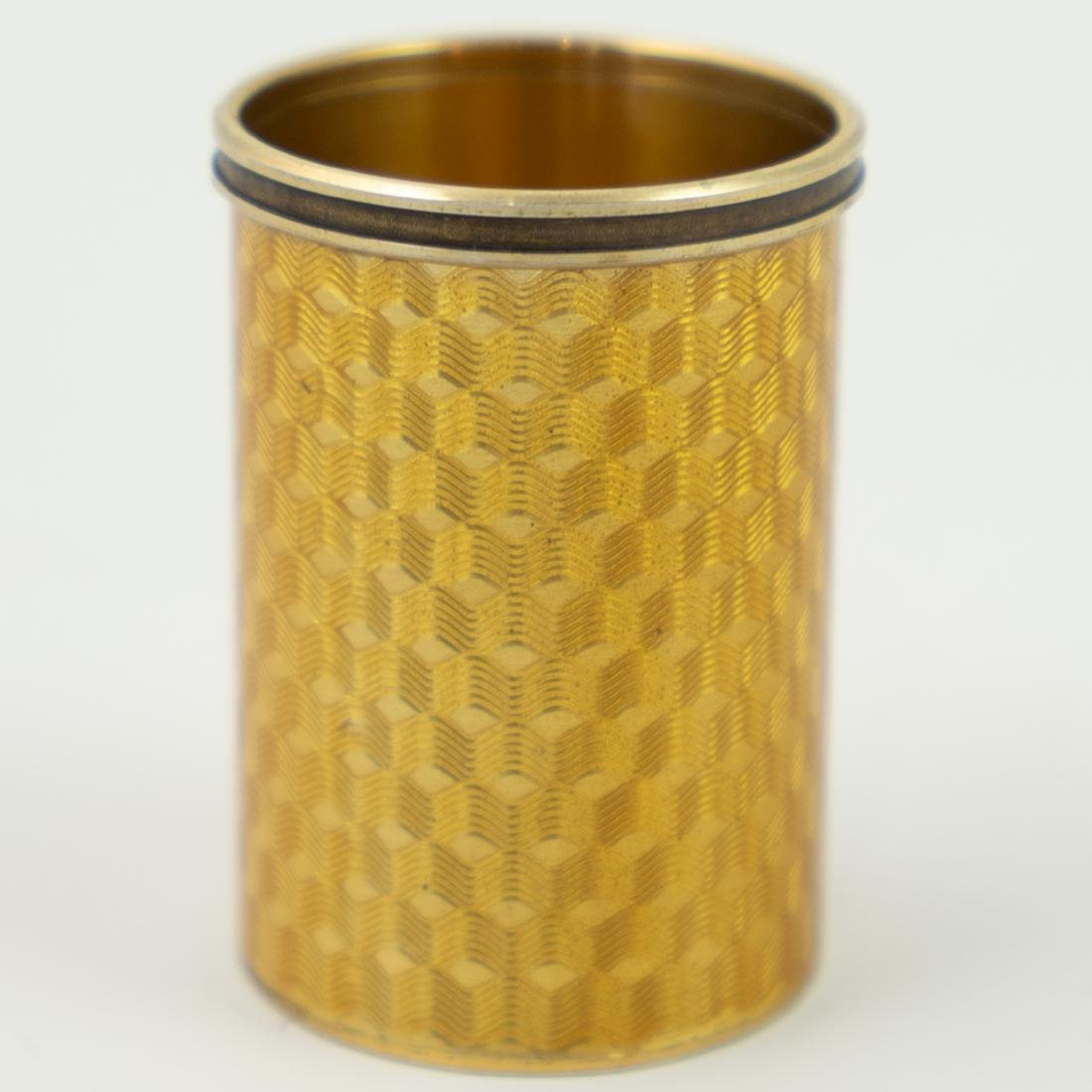 Karl Faberge Guiloche Enameled Silver Shot Glass by