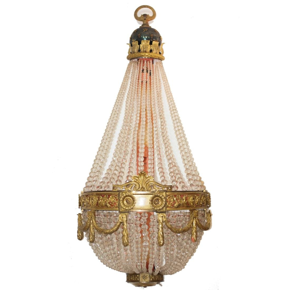 Antique French Dore Bronze & Crystal Sconce