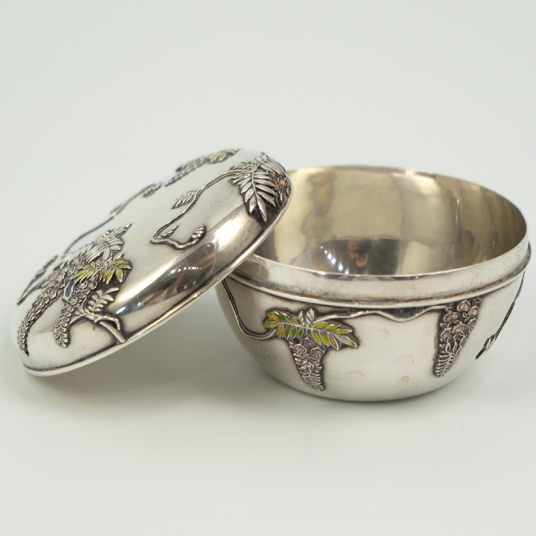 Japanese Meiji Sterling Silver Enameled Box