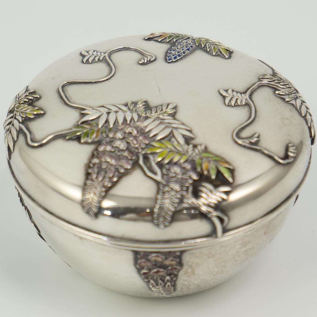 Japanese Meiji Sterling Silver Enameled Box - 2