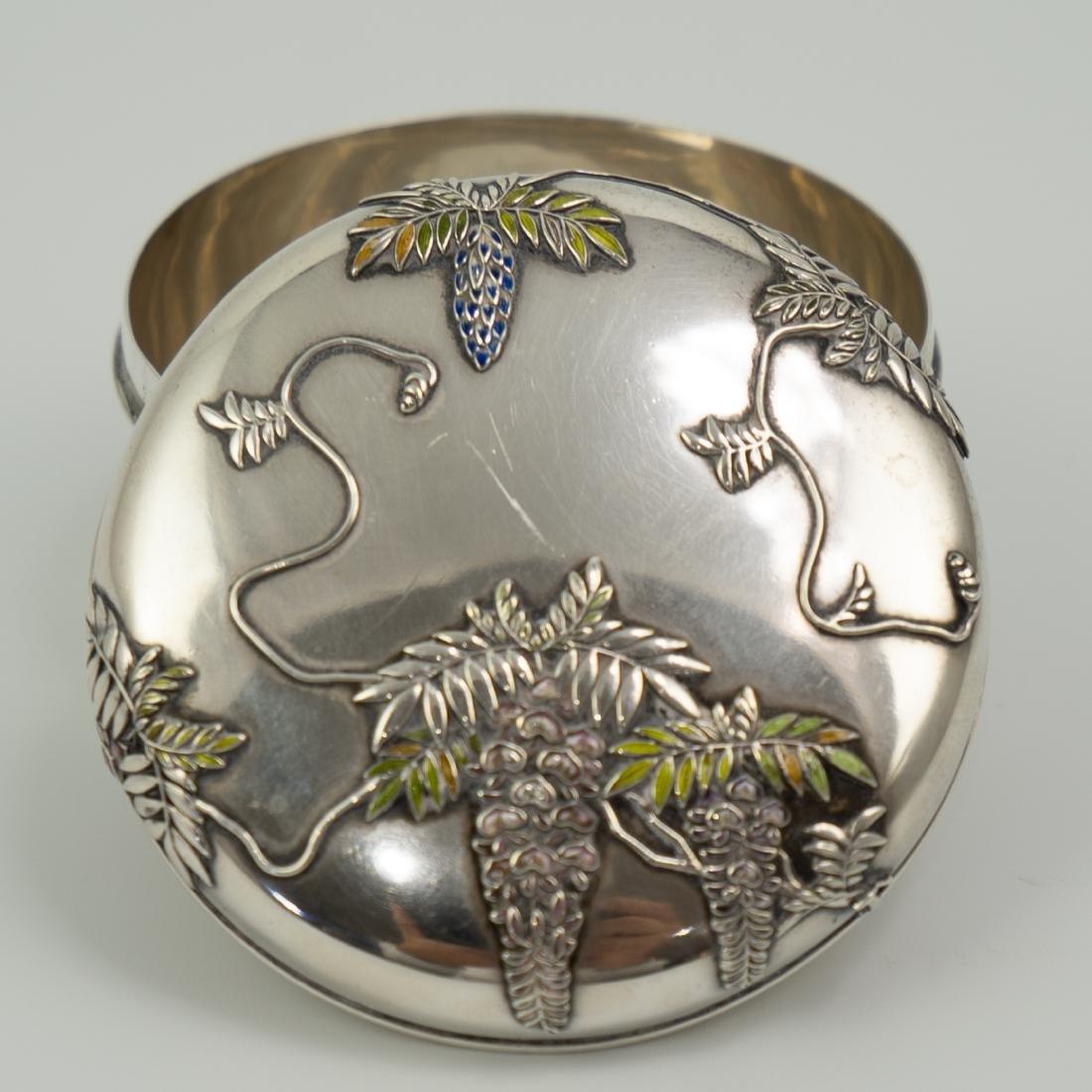 Japanese Meiji Sterling Silver Enameled Box - 3