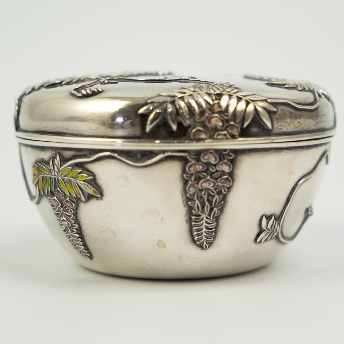 Japanese Meiji Sterling Silver Enameled Box - 4