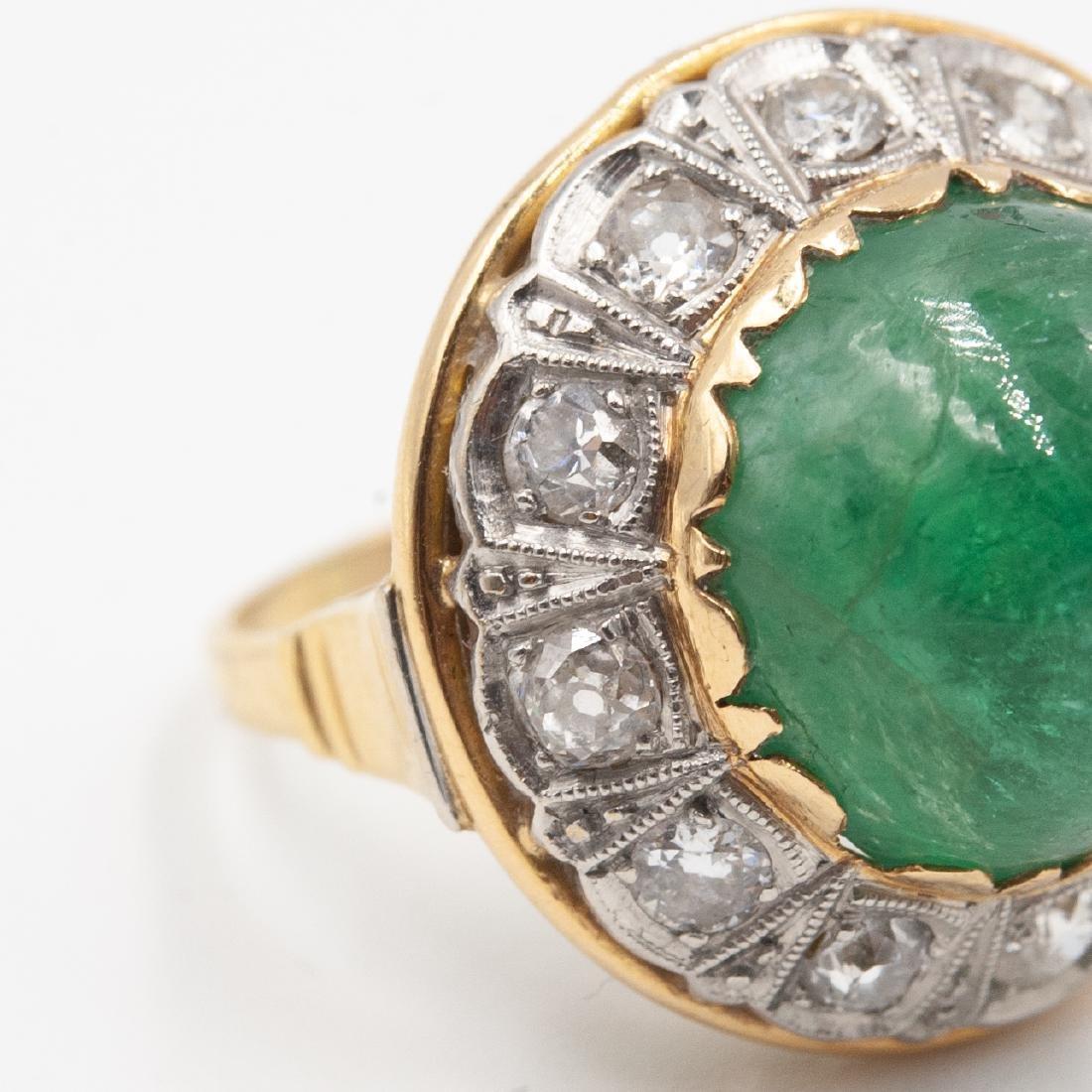 Art Deco Emerald & Diamond Ring - 4