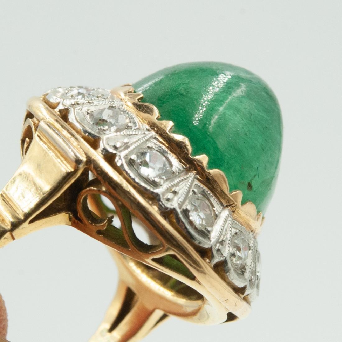 Art Deco Emerald & Diamond Ring - 5