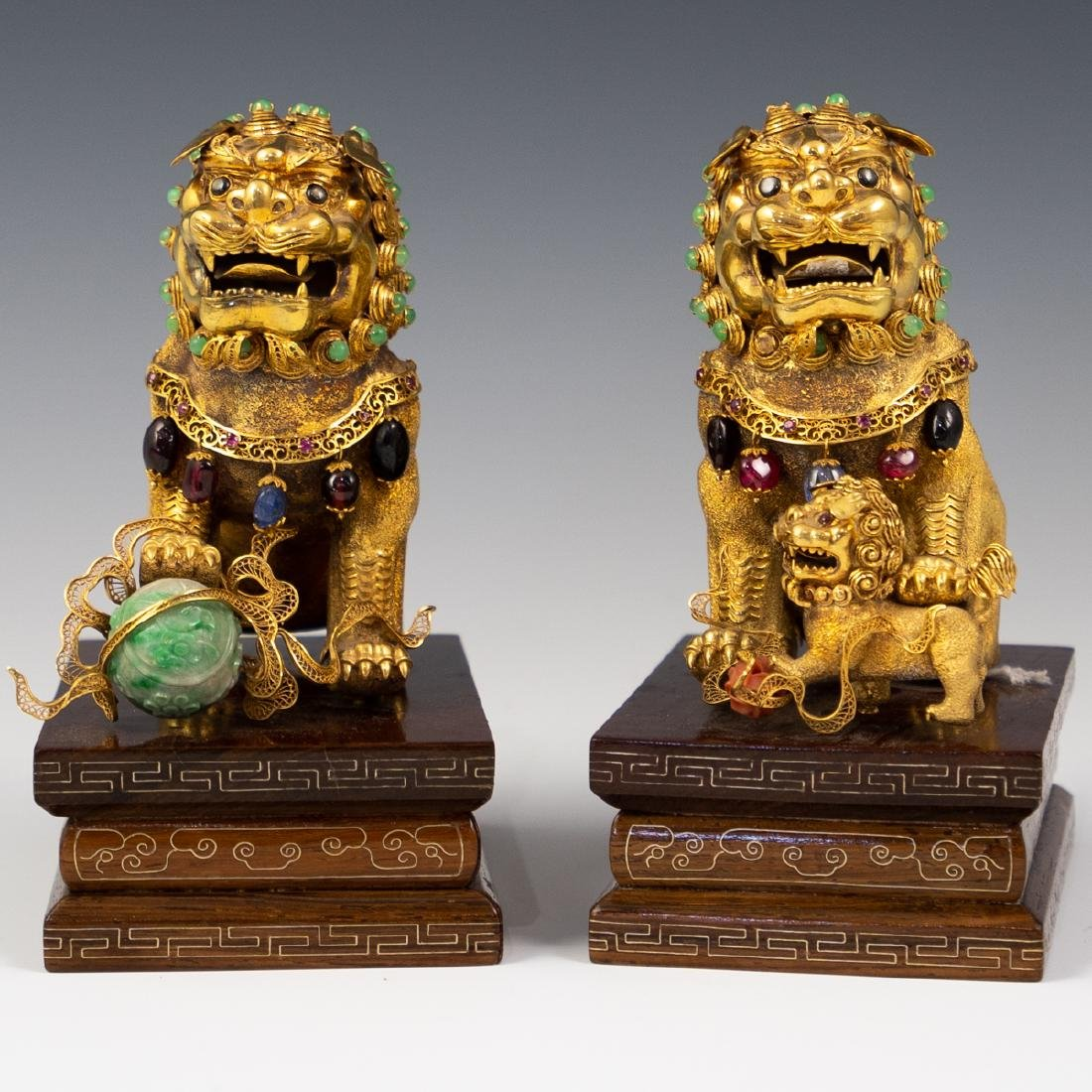 14K Solid Gold and Precious Stone Foo Dog