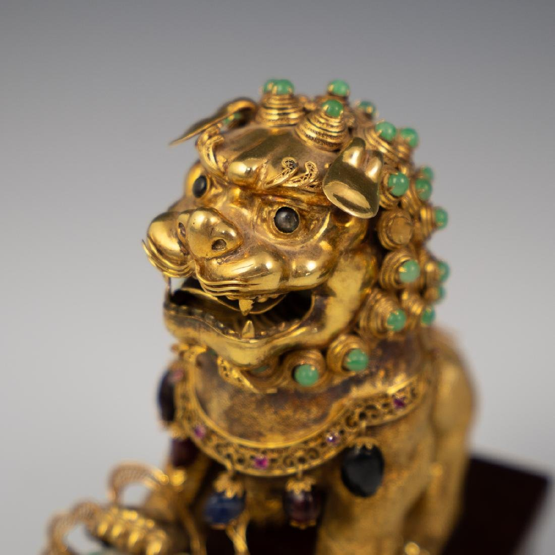 14K Solid Gold and Precious Stone Foo Dog - 2