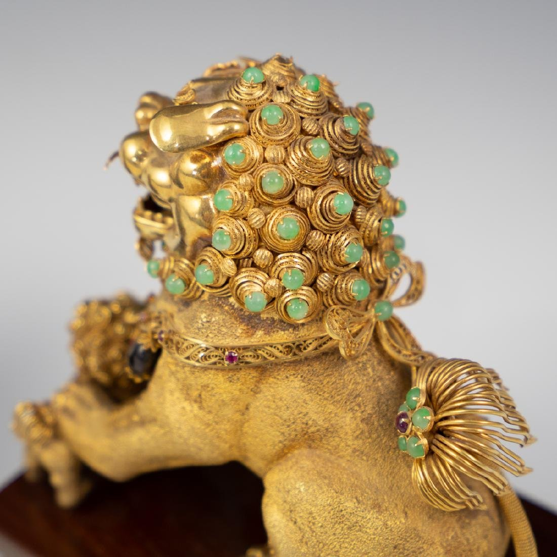 14K Solid Gold and Precious Stone Foo Dog - 6