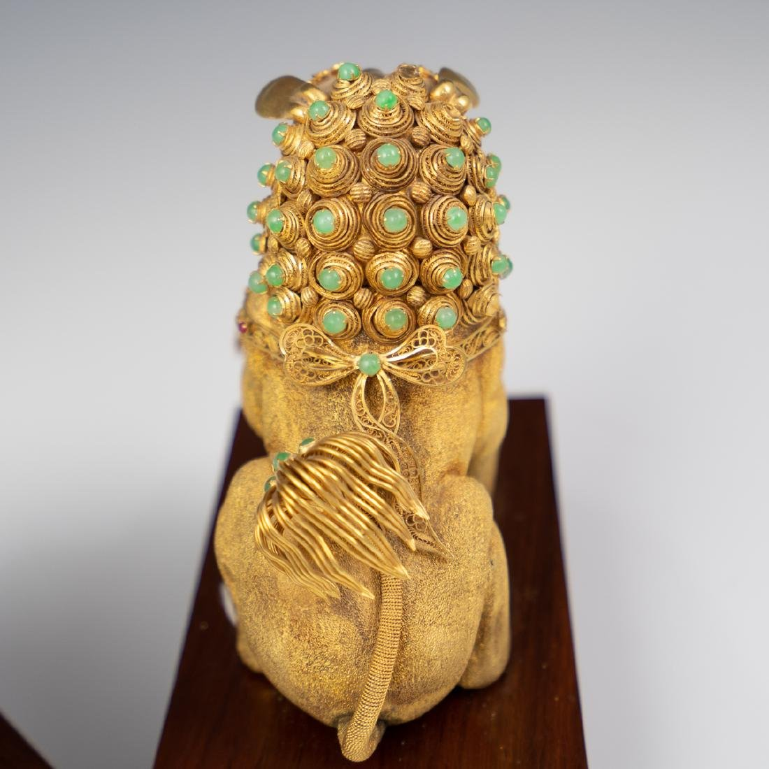 14K Solid Gold and Precious Stone Foo Dog - 7