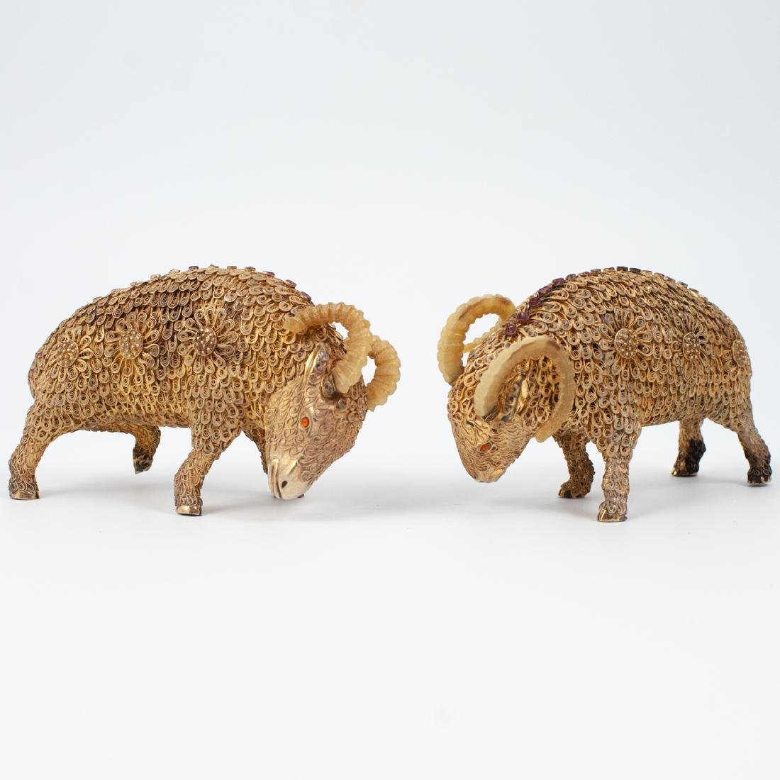 Pair of Chinese Gilt Silver Rams