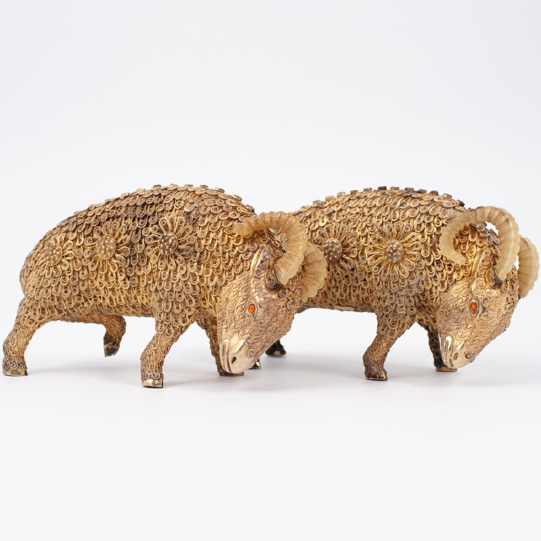 Pair of Chinese Gilt Silver Rams - 2