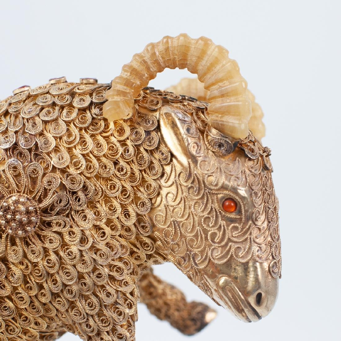 Pair of Chinese Gilt Silver Rams - 3