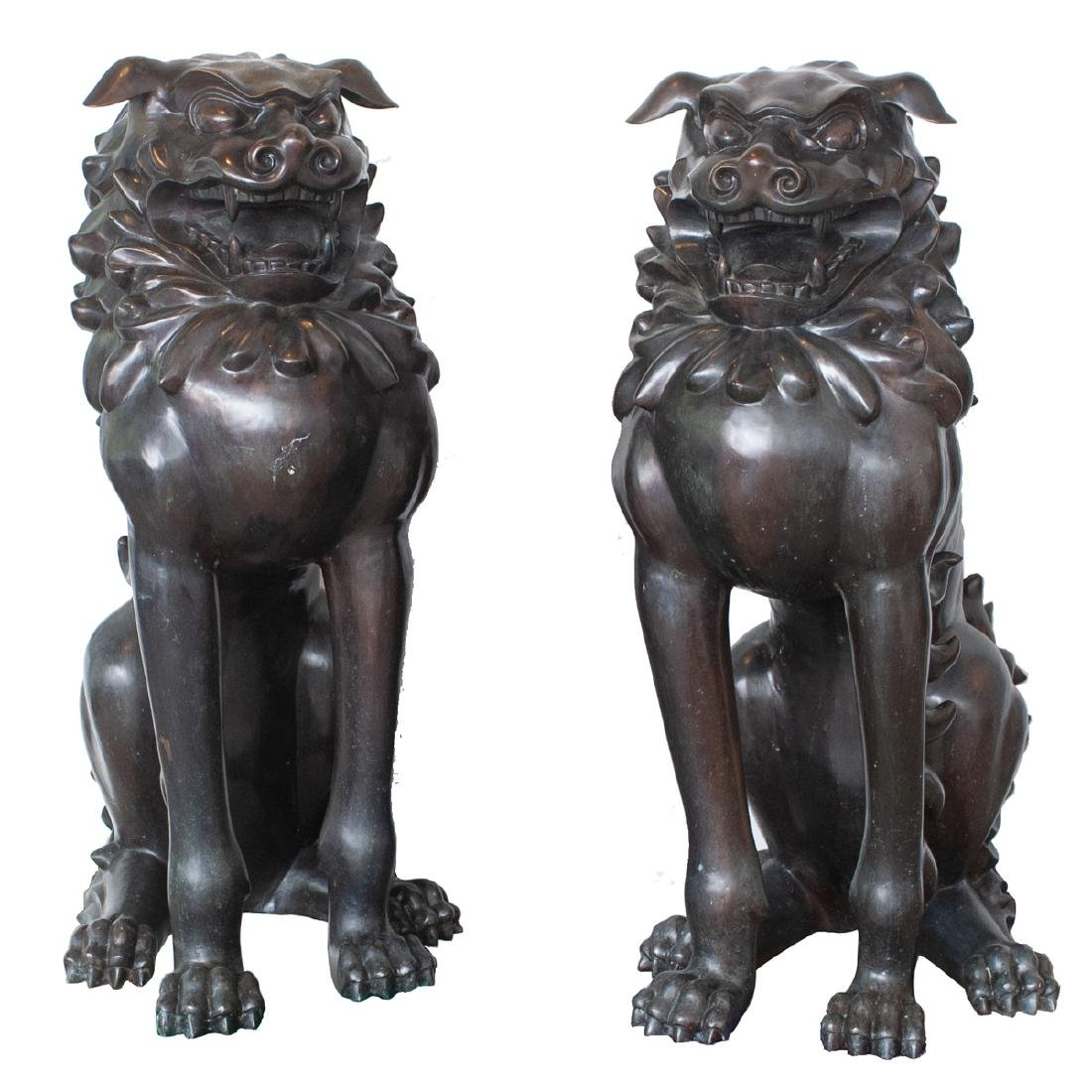 Pair Of Large Japanese Bronze Foo Dogs
