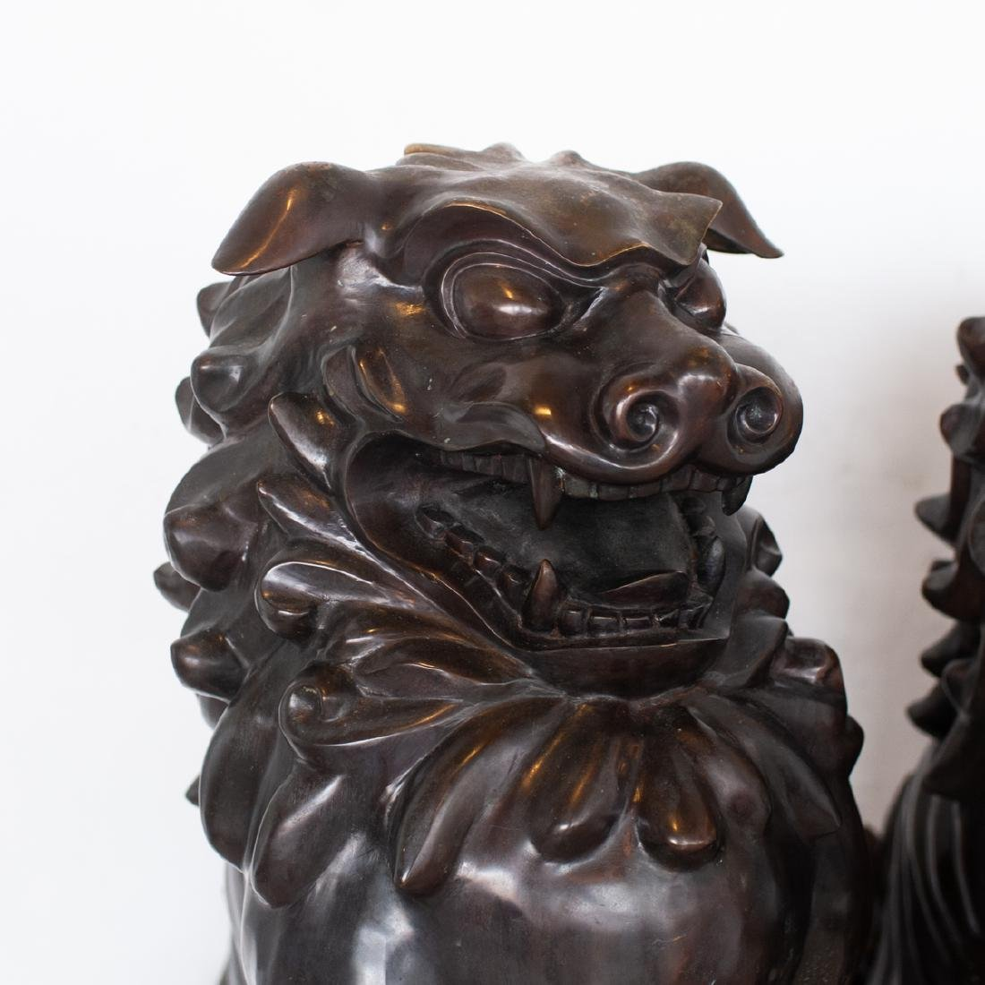 Pair Of Large Japanese Bronze Foo Dogs - 2