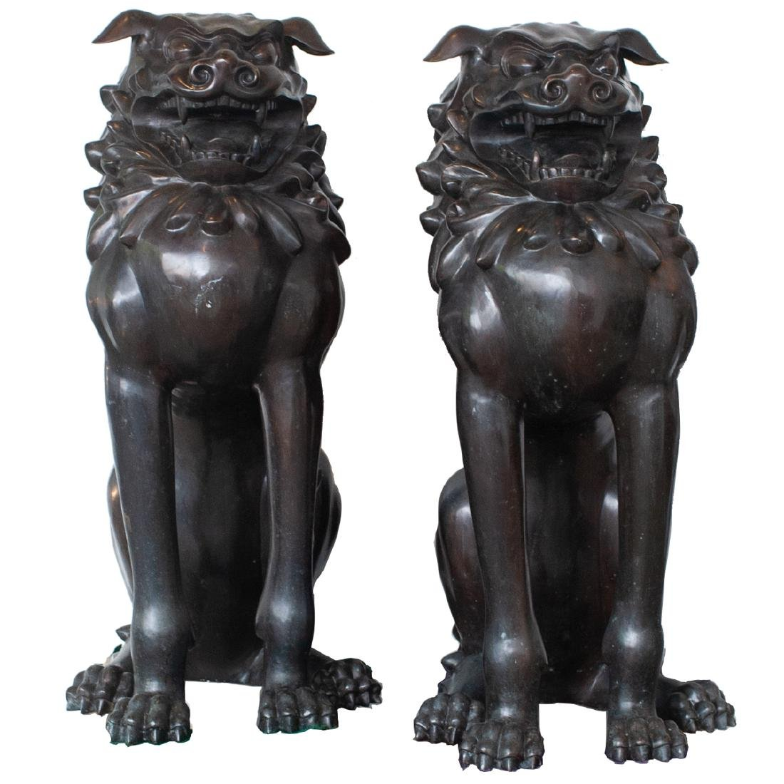 Pair Of Large Japanese Bronze Foo Dogs - 7