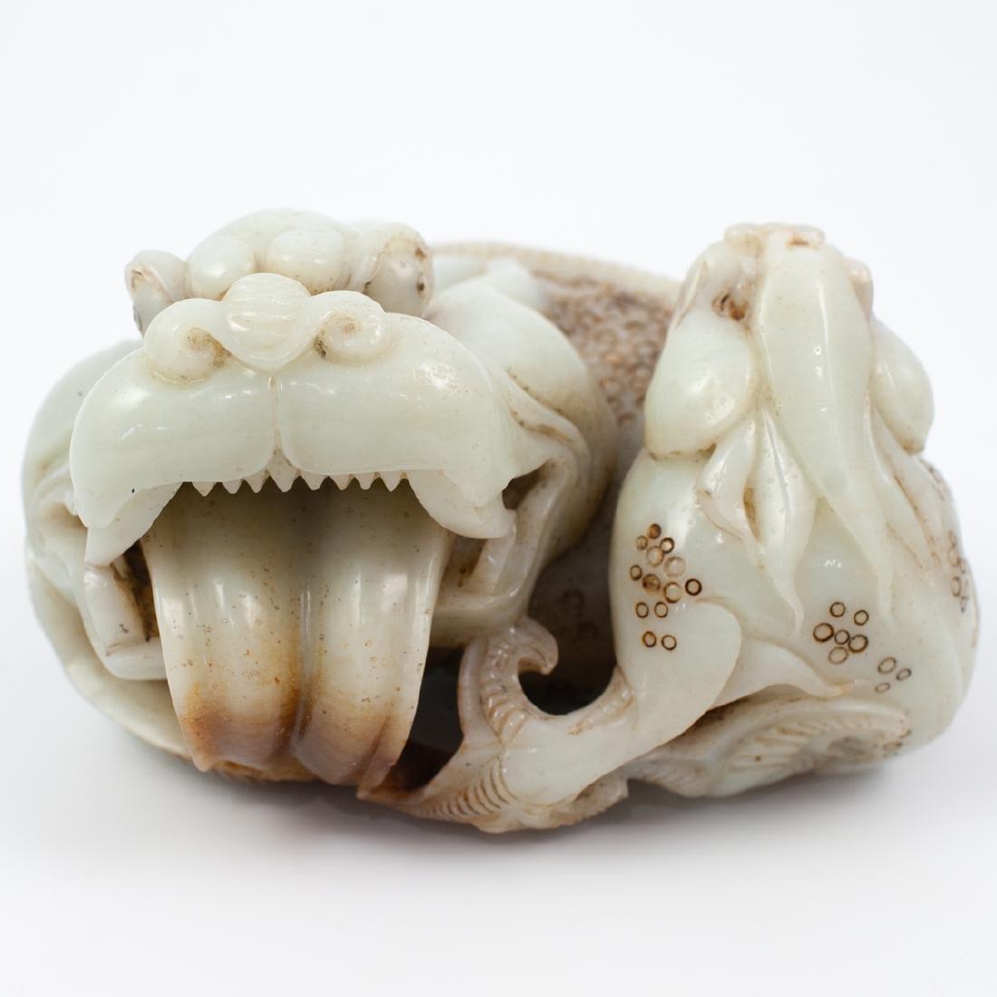Chinese Carved White Jade Foo Dog