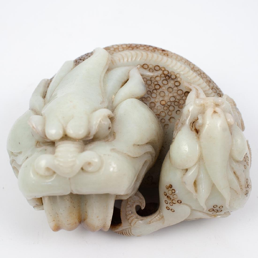 Chinese Carved White Jade Foo Dog - 2