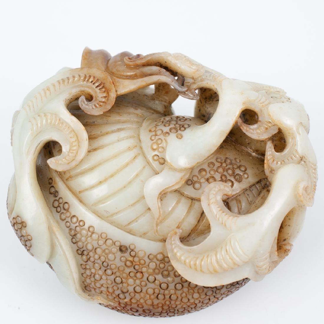 Chinese Carved White Jade Foo Dog - 5