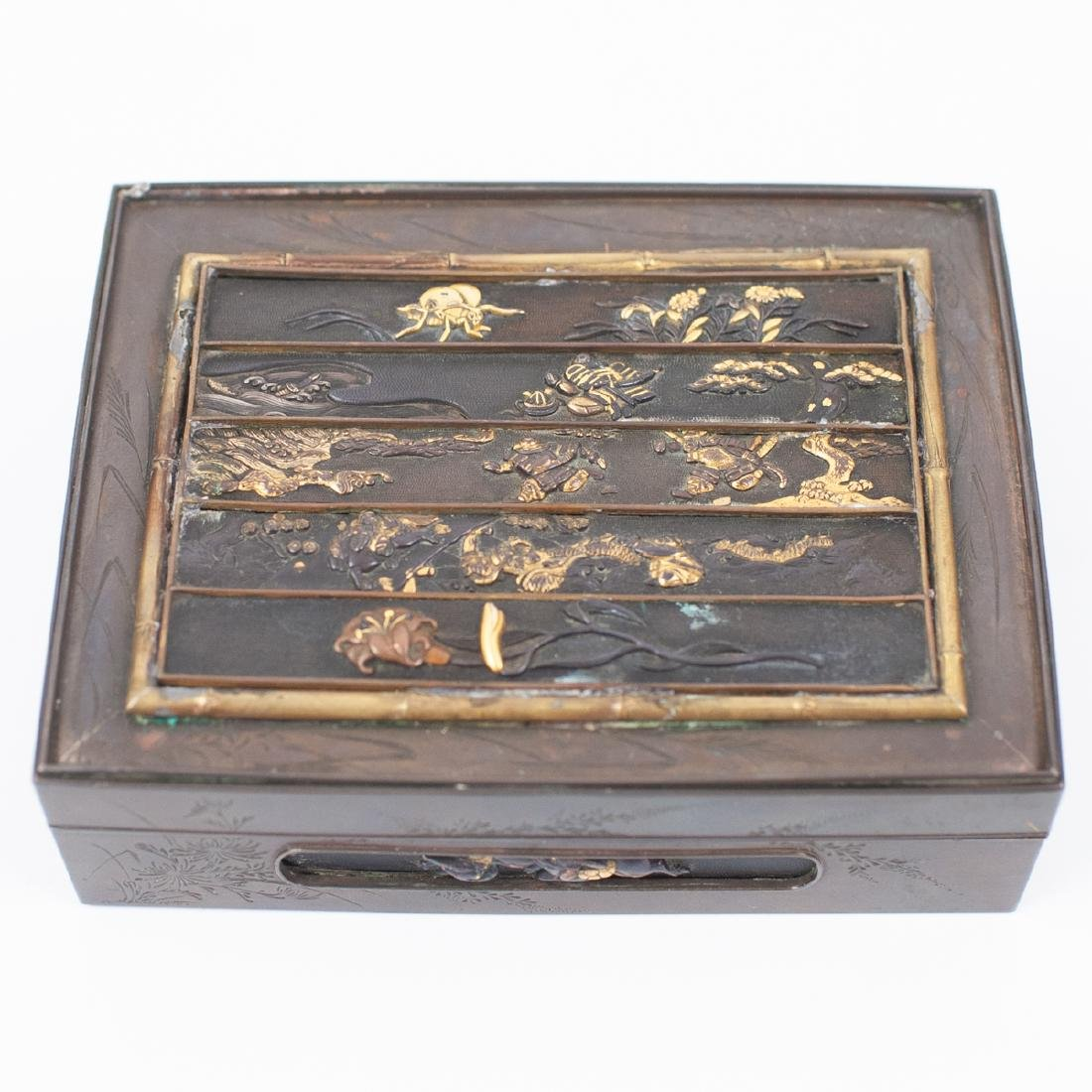 Japanese Meji Period Inlaid Bronze Box