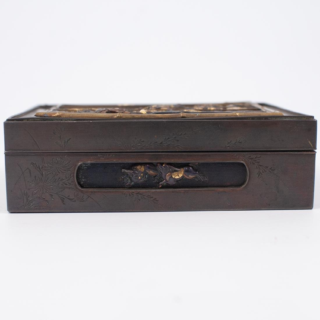 Japanese Meji Period Inlaid Bronze Box - 2