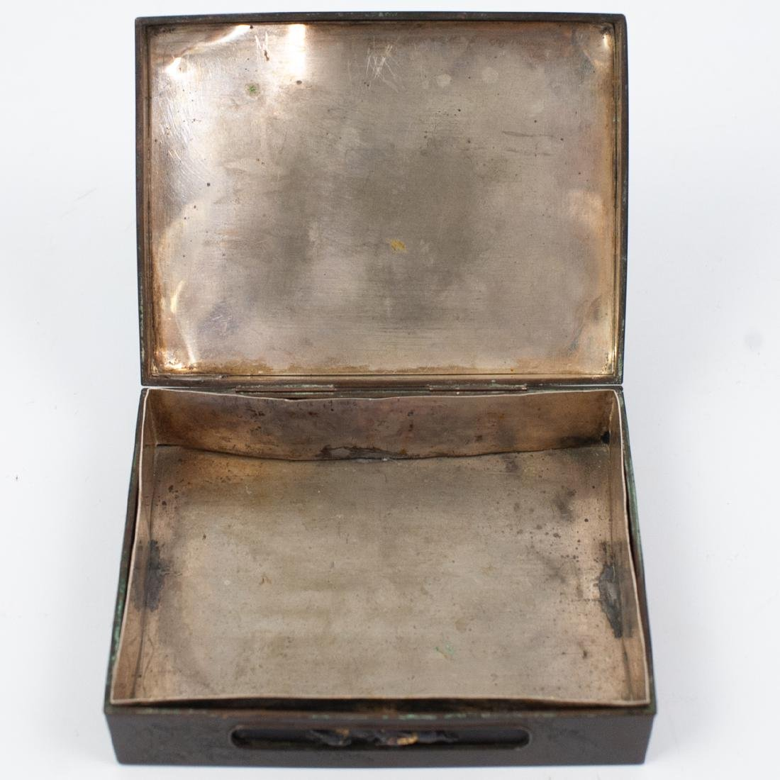 Japanese Meji Period Inlaid Bronze Box - 4