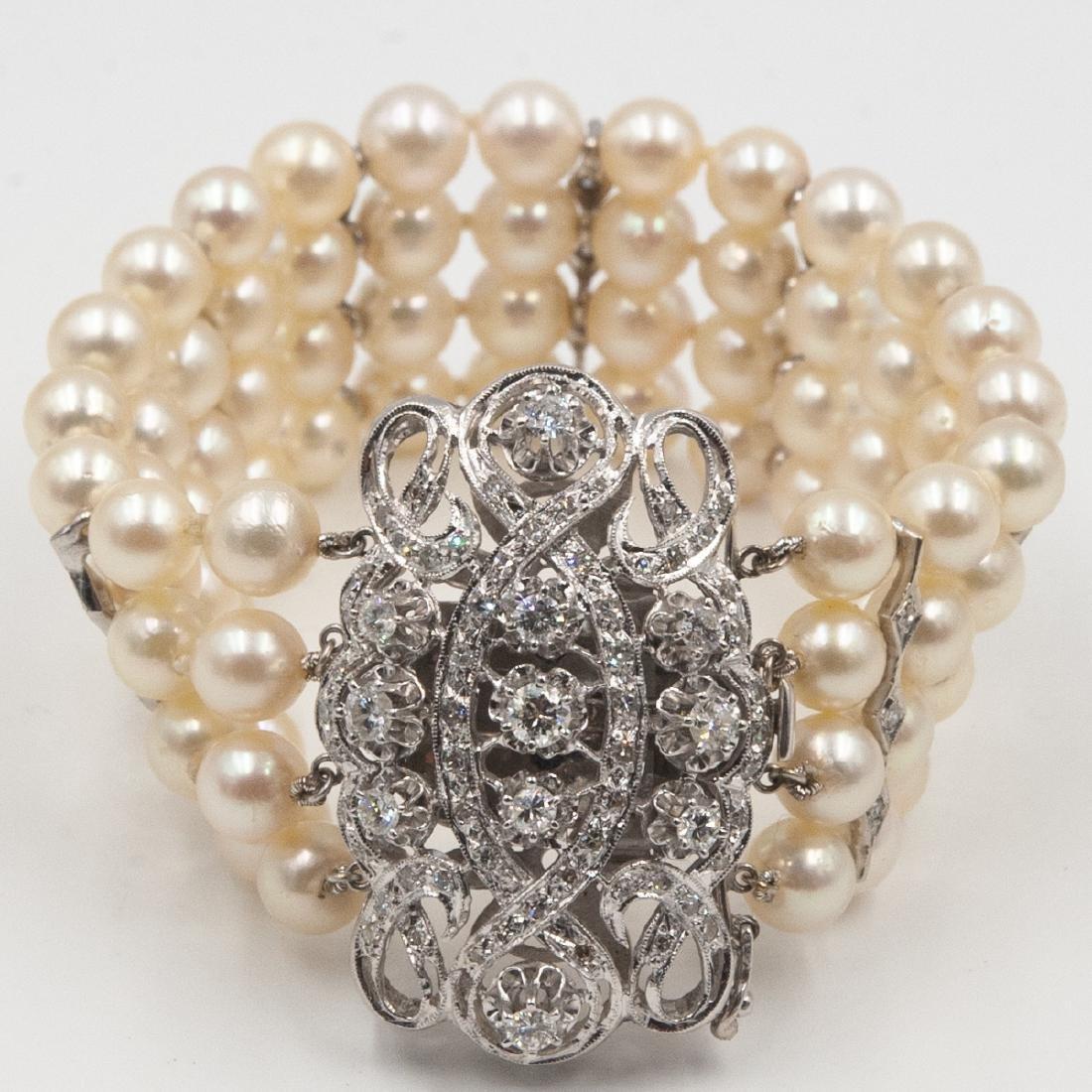 14k Gold, Diamond and Pearl Bracelet