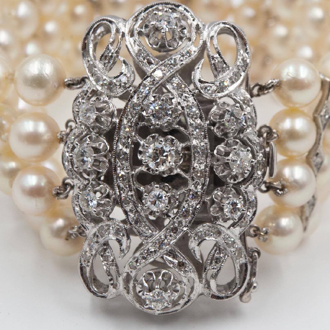 14k Gold, Diamond and Pearl Bracelet - 2